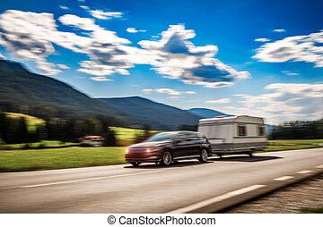 vacances, famille, motorhome, caravane, voyage vacances, ternissure mouvement, camping car, voyage, voiture