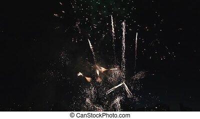 vacances, feux artifice, célébration