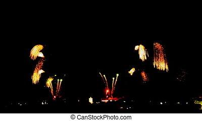 vacances, feux artifice, fond, coloré, nuit