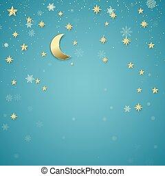 vacances, flocons neige, bleu, arrière-plan., doré, noël, conception, element., nuit, étoiles, vecteur