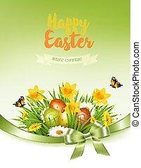 vacances, fond, coloré, printemps, oeufs, grass., vector., fleurs, paques