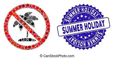 vacances, gratté, icône, non, paume, tropique, été, timbre, mosaïque