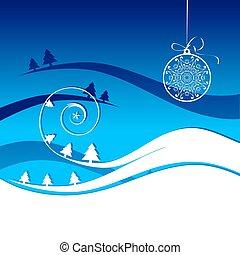 vacances, hiver, carte, noël