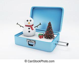 vacances hiver, fetes, suitcase., concept., voyage