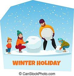 vacances, hiver, illustration