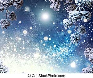 vacances hiver, neige, arrière-plan., flocons neige