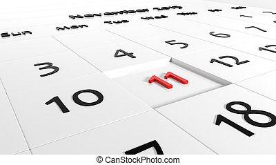 vacances, jour, calendar., vétérans