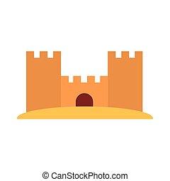 vacances, loisir, plat, été, style, sable, icône, château