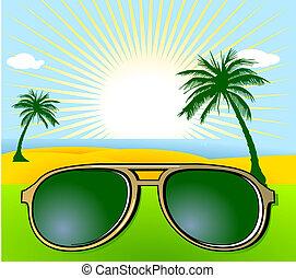 vacances, lunettes soleil