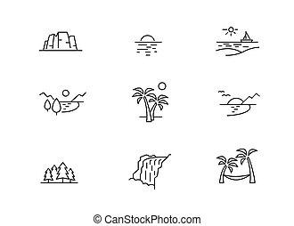 vacances, nature, icônes