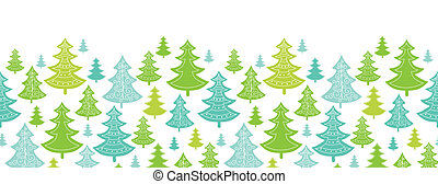 vacances, noël arbres, horizontal, seamless, modèle, fond