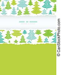 vacances, noël arbres, vertical, déchiré, cadre, seamless, modèle, fond