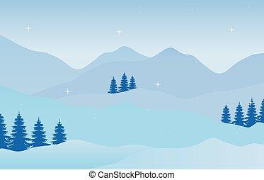 vacances, noël, paysage, hiver