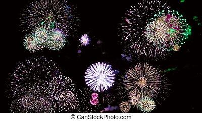 vacances, nuit, coloré, feux artifice