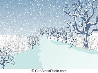 vacances, paysage hiver, fond