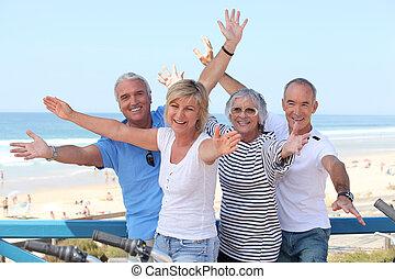 vacances, personnes troisième âge