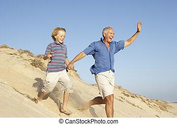 vacances, petit-fils, dune, grand-père, bas, courant, apprécier, plage