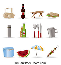 vacances, pique-nique, icônes