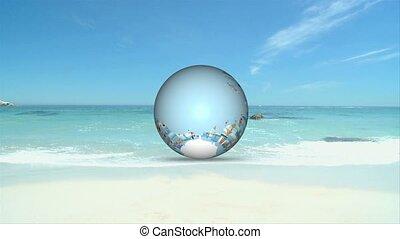 vacances, plage, animation, 3d