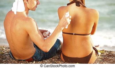 vacances plage, heureux