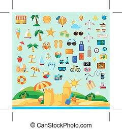 vacances, plage, icônes