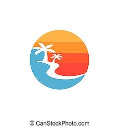 vacances plage, logo, vecteur, été