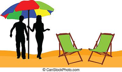vacances plage, -, relâcher