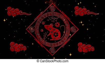 vacances, printemps, stars., scintillement, nuit, lunaire, event., noir, animation., chinois, boucle, rendre, vidéo, festival, rat, sakura, toile de fond, simbol, étoilé, année, nouveau, fond, 4k, 3d, seamless, année