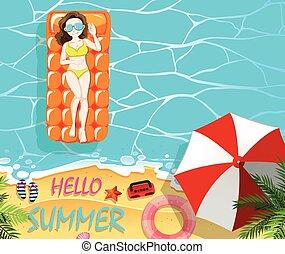 vacances, radeau, été, femme, flotter