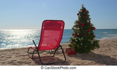 vacances, recours, fond, temps, plage, noël