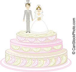 vacances, tarte, à, mariée marié