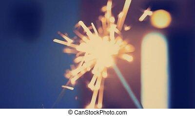 vacances, veille, nouveau, ou, années, baguette, sparklers, ...