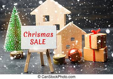 vacances, vente, achat, recours, maisons arbre, escomptes, noël, achat, inscription, house., vrai, année, hiver, appartements, bois, estate., nouveau, bas, sale., price.