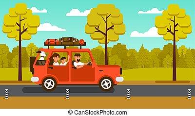 vacances, voiture, famille, va