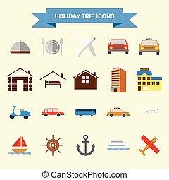 vacances, voyage, icônes