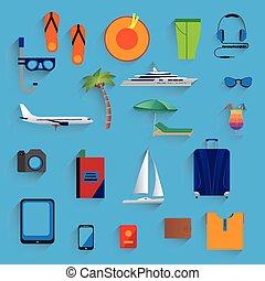 vacances, voyage, icons., tourism.