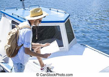 vacances, yacht, jeune, ou, aventure, voyage