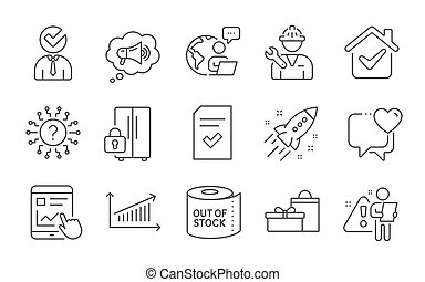 Vacancy, Checked file and Megaphone icons set. Toilet paper, Heart and Question mark signs. Vector