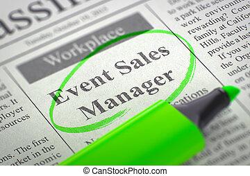 vacancy., director, ventas, trabajo, 3d., acontecimiento