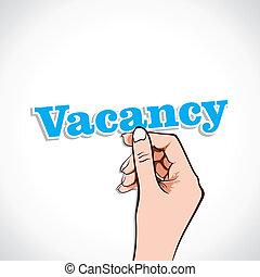 Vacancy word in hand
