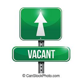 vacant, conception, route, illustration, signe