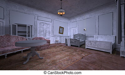 Vacant house - 3D CG rendering of the vacant house.