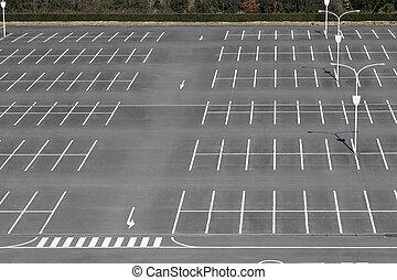 Vacant parking lot, parking lane outdoor in public park