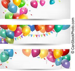 vacanza, bandiere, con, colorito, balloons., vector.