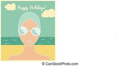 vacanza, cappuccio nuoto, scheda, donna