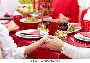 vacanza, cena famiglia, casa, pregare, detenere