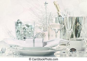 vacanza, champagne, setting posto, occhiali