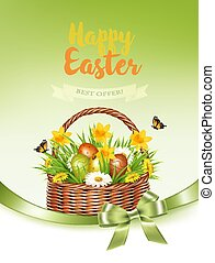 vacanza, colorito, prendere, primavera, uova, basket., vector., fiori, pasqua, scheda