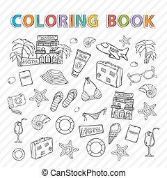 vacanza, estate, book., coloritura, vettore