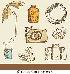 vacanza estate, collezione, scarabocchiare